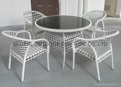 Outdoor Rattan Round Table Chairs Dining set Wicker