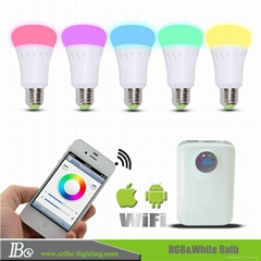 RGB smartphone control LED bulb light