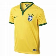 New Brazil 2014 World Cup Nation Home Yellow Soccer Jersey Uniform Man Woman
