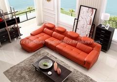 L.IMG9566J-Orange Top Grain Leather Corner Sofa