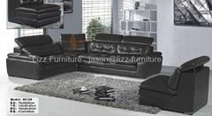 L.P6613J-Black Leather Sectional Sofa 123