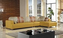 LBZ1115J-Yellow Orange Leather Corner Sofas