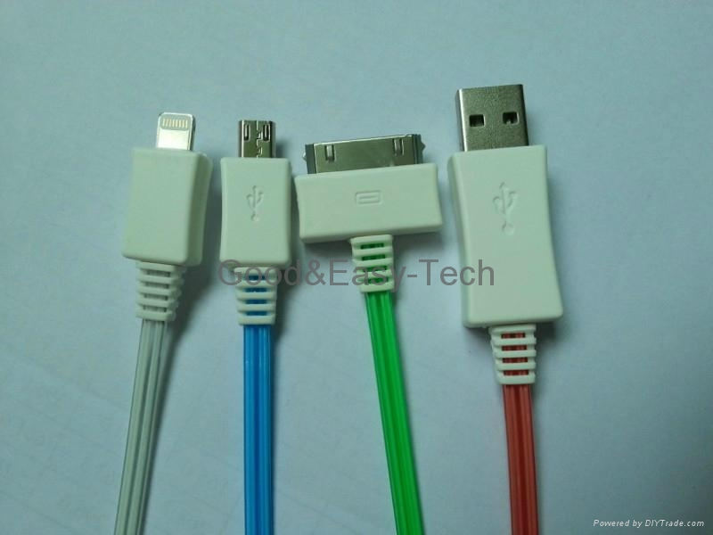 LED USB data cables (for Iphone 4,iPhone 5,Micro USB) 1
