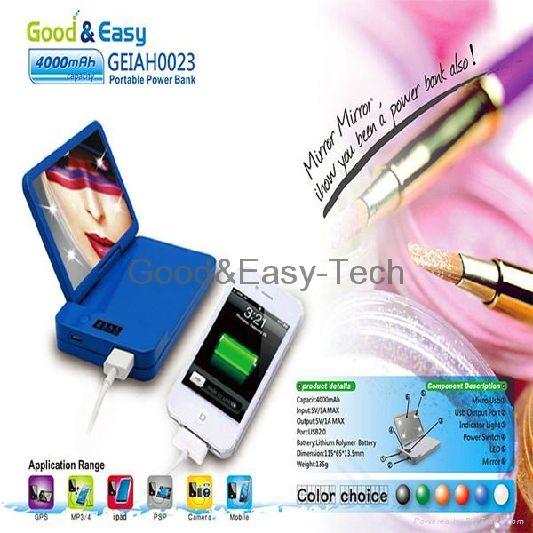 2014 mirror style 4000mAh power bank Emergency cell phone charger 2
