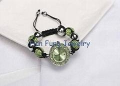 Peridot Shamballa Watch Bracelet Handmade Fashion Shamballa Bead Bracelet for Me