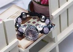 Light Amethyst Crystal Shamballa Watch Bracelet Handmade Fashion Shamballa Bead