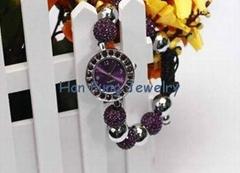 USA Style Amethyst Crystal Shamballa Watch Bracelet Wholesale Fashion Shamballa
