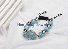 USA Style Aquamarine Crystal Shamballa Watch Bracelet Wholesale Fashion Shamball