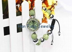 Peridot Crystal Shamballa Watch Bracelet Wholesale Fashion Green Shamballa Bead