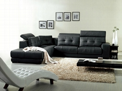 950 Newest adjustable headrest black leather corner sofa