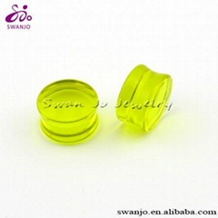 Wholesale body jewelry glow in the dark acrylic ear plugs gauges body piercing c