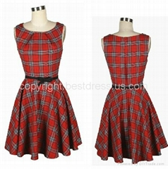 NEW PINUP CLASSY TARTAN 1950's ROCKABILLY SWING DRESS