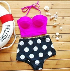 Hot Sales Swimwear Vintage Push Up Bandeau HIGH WAISTED Bikini Set Bathing Suit