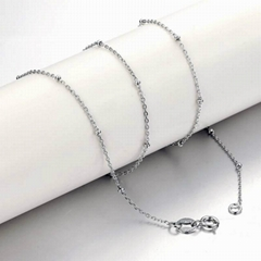 Rolo silver chain with bead fashion jewelry accessory
