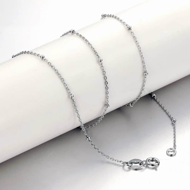 Rolo silver chain with bead fashion jewelry accessory 1