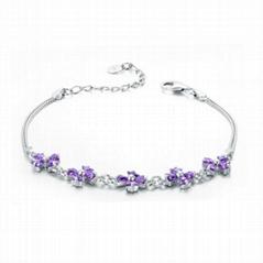 beautiful flower design bracelet Purple zirconia stones inlay