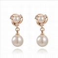 Pearl earring jewelry set with shinning