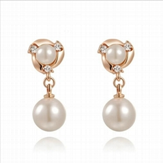 Pearl earring jewelry set with shinning Austria Crystal white color