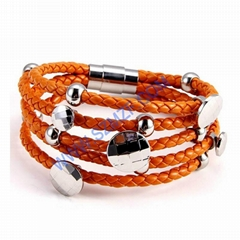 2014 Costume jewelry stainless steel leather wrap bracelet with charm