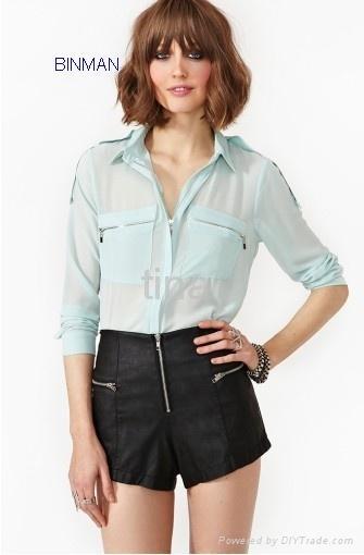 Ladiess fashion  Zip Blouse 1