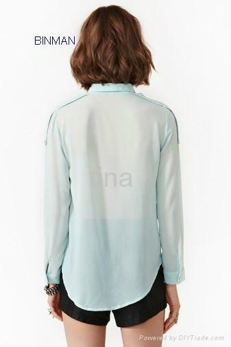 Ladiess fashion  Zip Blouse 2