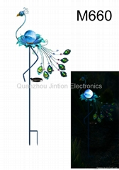 Outdoor Blue Solar Powered LED Peacock Stake Light