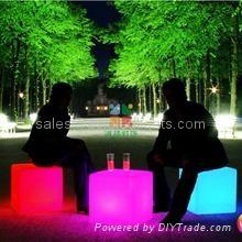 led lighted stool chair cube illuminated bar furniture