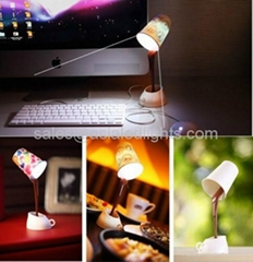 USB DIY 8 LED Coffee Cup Mug Lamp Light Energy Saving Room Table Decoration