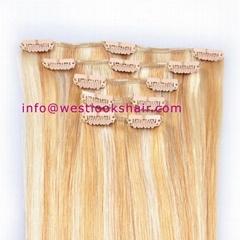 cheap clip on human hair extensions full head