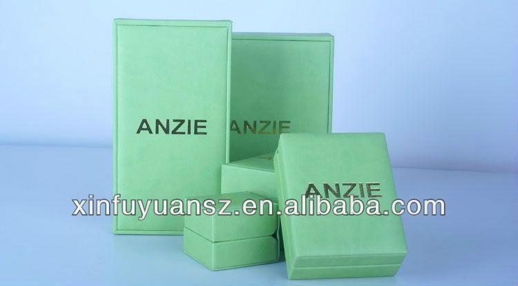Professional custom PU leather green jewelry box