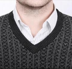 男式V领商务高档羊绒背心