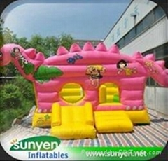 Attractive Inflatable Pink Dinosaur Bouncer