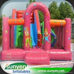Popular Inflatable Clown Slide with Obstacle