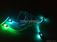Magical visible Micro USB sync & charge LED light Cable For Iphone Sumsung