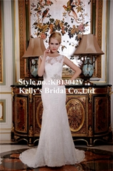 2015 Elegant  popular modern latest design with cap sleeves low V back wedding