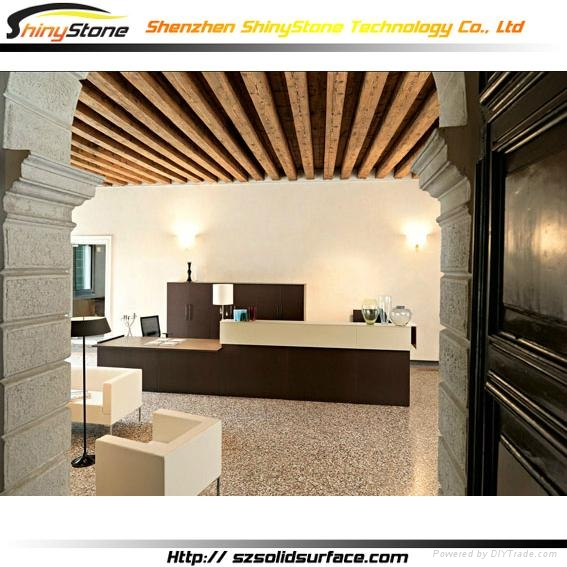 cambered corian solid surface beauty salon reception desk