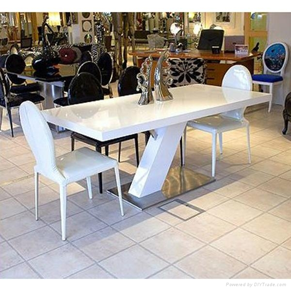 Square White Corian Solid Surface marble Dining Table 4