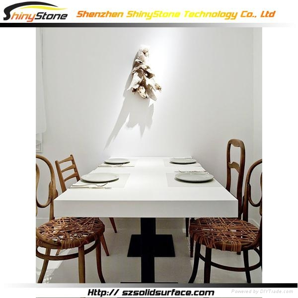 Square White Corian Solid Surface marble Dining Table 5
