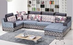 Gray + White Corner Fabric Sofa LS281S