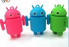 YL-K114 andriod robot LED keychain with sound