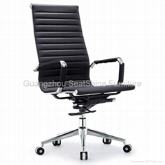 rotating leather office chair high mid back