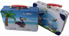 2014 hot sales lunch tin box, tin suitcase with handle and lock