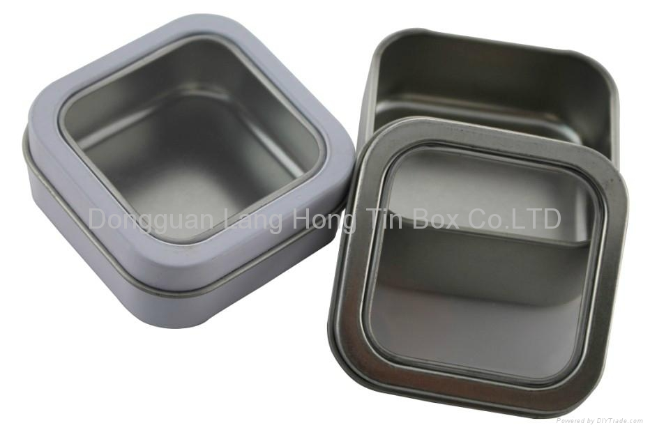 Square chocolate tin box with PVC clear window  4