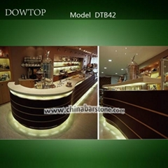 customized artificial stone Hotel curved bar counter in guangdong