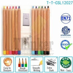 High Quality Nature Wood Color Drawing Pencil Big Pencils Set for Kids
