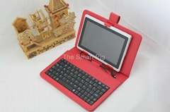 USB Keyboard+Leather Case Cover+Flim For MID protctive Case