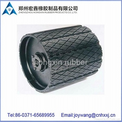 Removable pulley lagging for conveyor system with abrasion resistant