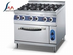 6-burner gas range with electric oven