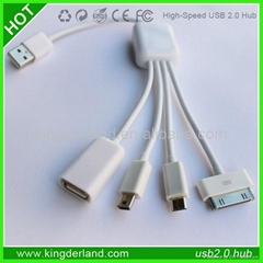 Hot Sell 4 In 1 4 Port USB Hub Fine Hub USB Cable