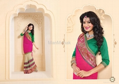 Matwali - Exotic Pink and Green Color Designer Party wear Saree
